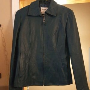 Blue Teal Leather Moto Jacket *EVERYTHING MUST GO*